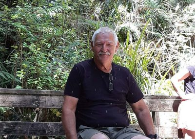 Man sitting stationary on an Omeo on a wooden board walk in front of a large Kauri Tree