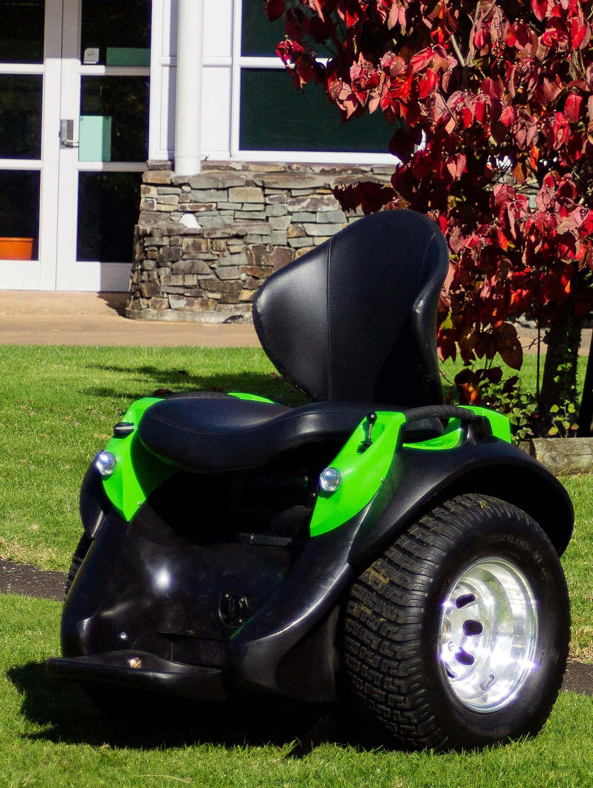 Photo of green Omeo with the Off-Road tyres.